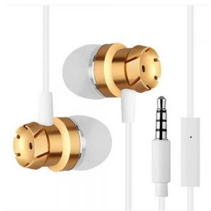 High Quality Stereo Bass EarPhones with MIC In-Ear Noise Cancelling HeadPhones -gold