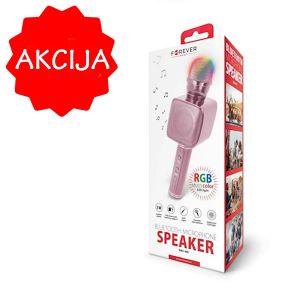 Otroški mikrofon za karaoke BMS-400 z vgrajenim bluetooth zvočnikom in LED osvetlitvijo roza